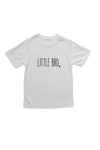"White kids tee with ""little bro"" written on it."