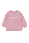 "Pink sweatshirt with the words ""little sis"" written on it."