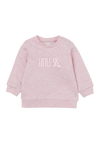 "Blush sweatshirt with the words ""little sis"" written on it."