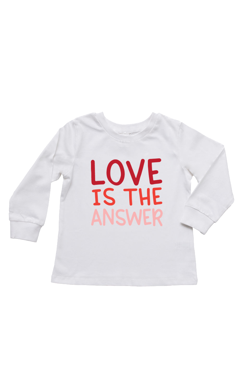 "A white long-sleeve t-shirt that says ""love is the answer""."