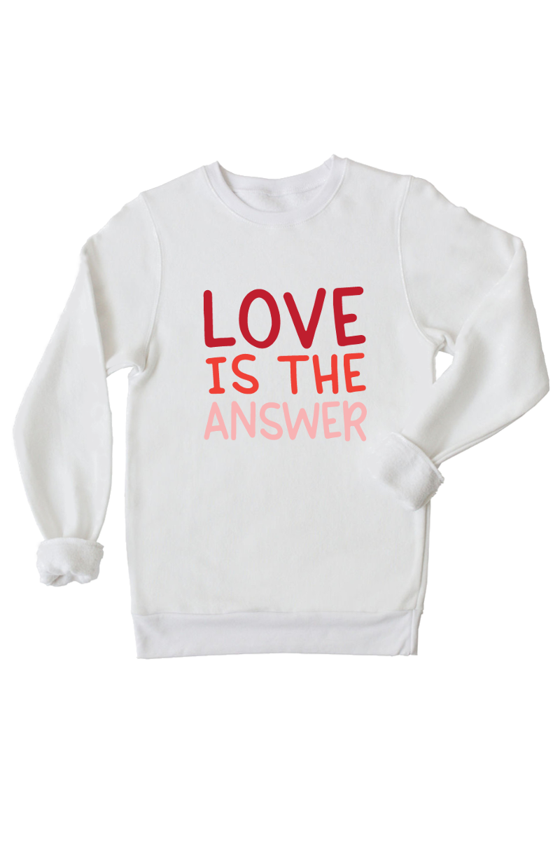 "A white sweatshirt that says ""love is the answer""."