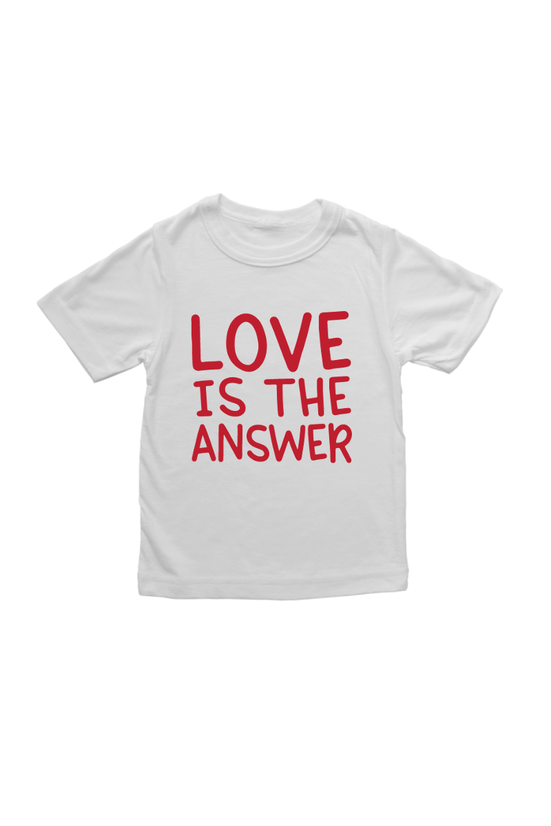 "A white t-shirt that says ""love is the answer."""