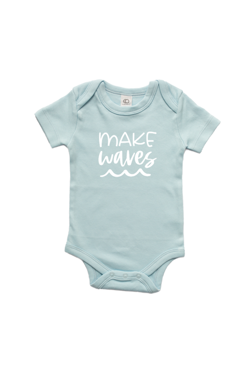 "A blue bodysuit that says ""make waves"" and has a wave graphic on it."