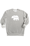 "A grey ""mama bear"" sweatshirt."