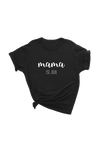 "Black t-shirt with ""mama est. 2020"" written on it."