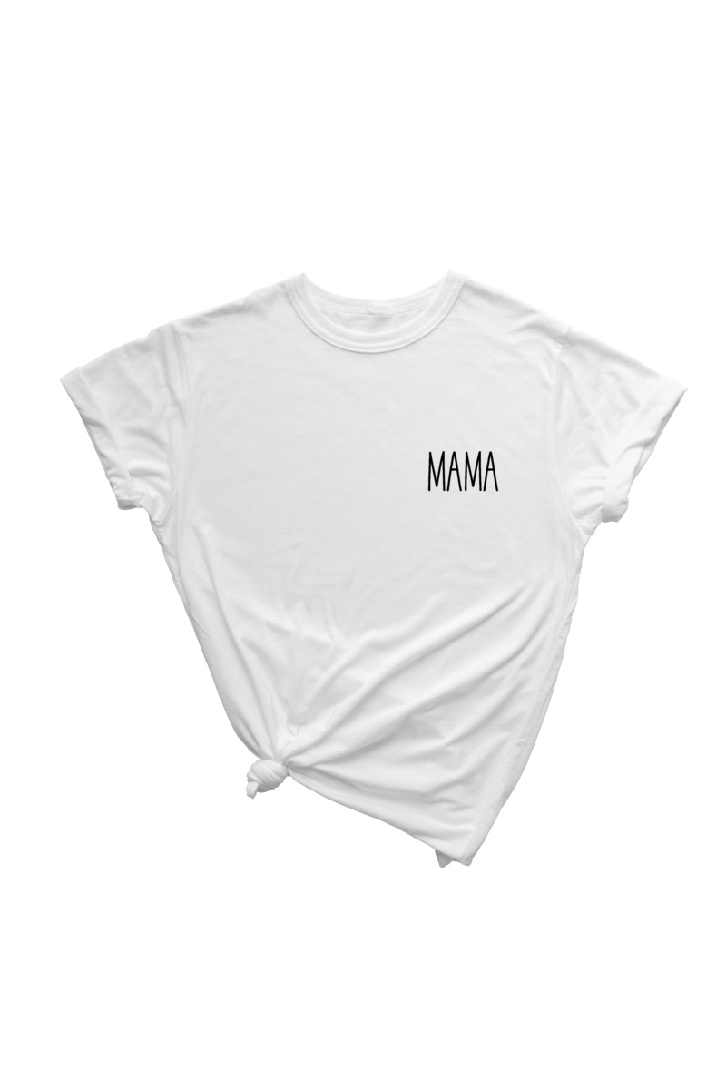 "A white t-shirt that says ""mama."""