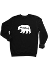 "Ladies black sweatshirt with the word ""mama"" written inside a white bear"