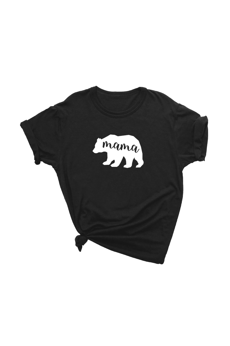 "Black t-shirt with a white bear on it. The word ""mama"" has been cut out of the bear."