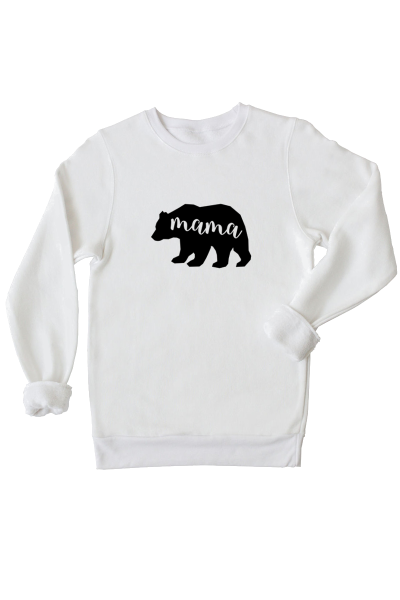 Ladies mama bear white pullover