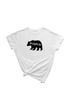 "White t-shirt with a black bear on it. The word ""mama"" has been cut out of the bear."