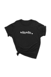 "Black t-shirt with the word ""mama"" written on it."