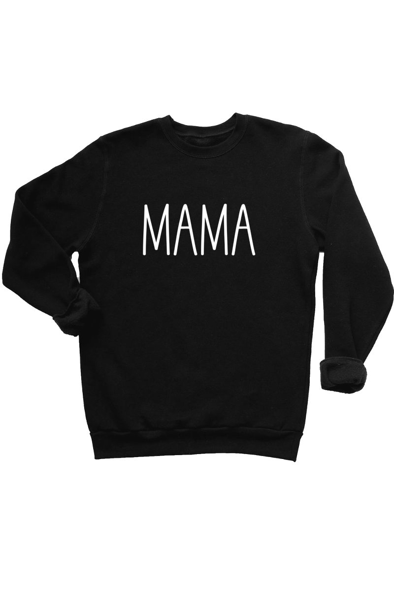 "Black sweatshirt with the word ""mama"" written on it."