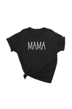 "Black t-shirt with ""mama"" written on it."
