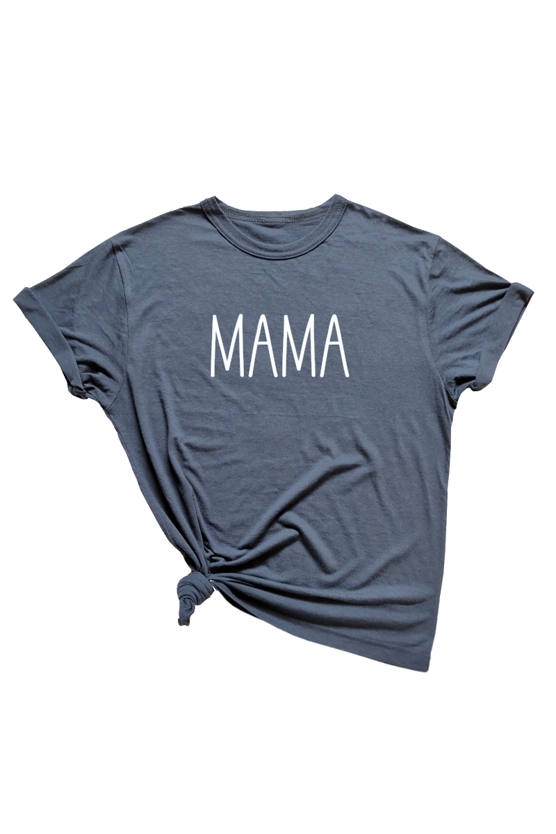 "Navy t-shirt with ""mama"" written on it."
