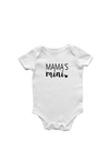 "A white short-sleeve bodysuit with the words ""mama's mini"" and a heart on it."