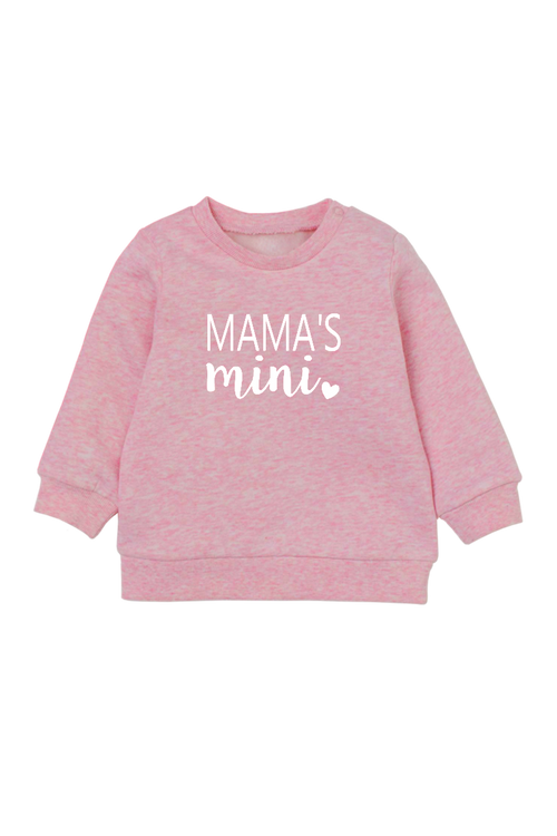 "A pink sweatshirt with ""mama's mini"" written on it."