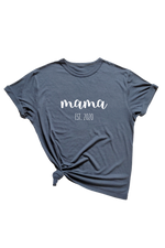 "Navy t-shirt with ""mama est. 2020"" written on it."
