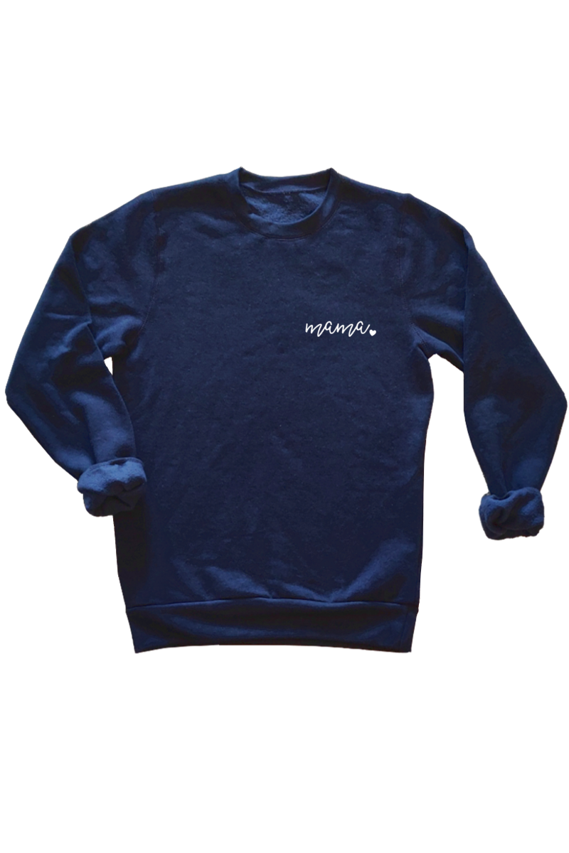 "A navy sweatshirt that says ""mama""."