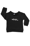 "A black sweatshirt with ""mini"" written on it."