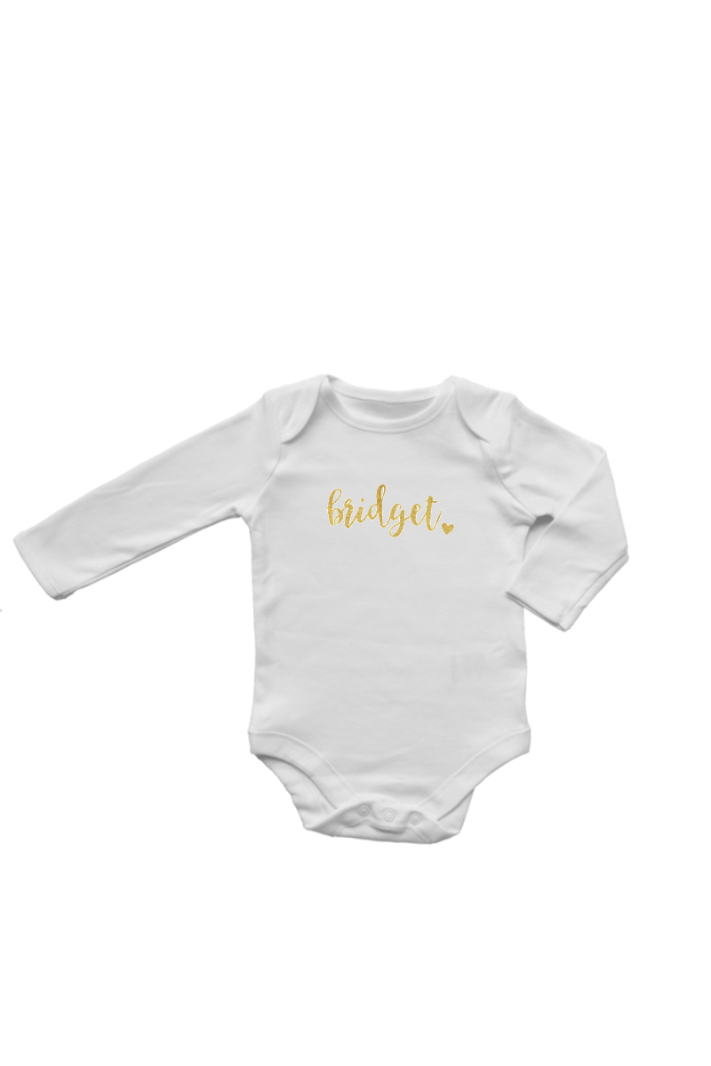 "A white bodysuit with ""Bridget"" written across it."