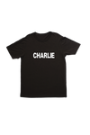 "Black kids tee with ""Charlie"" written on it."