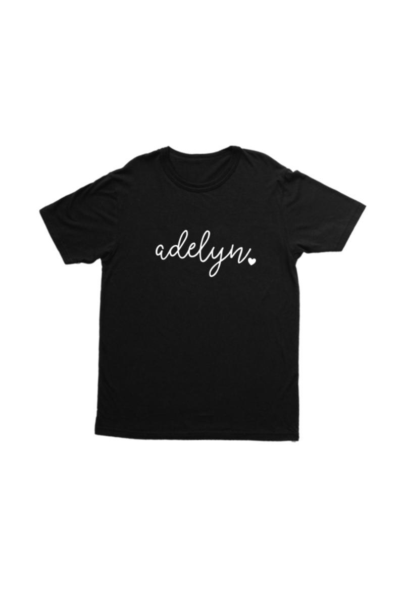 "A black kids t-shirt that says ""adelyn""."