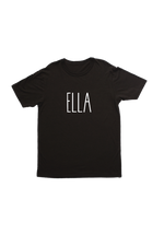 "Black kids tee with ""Ella"" written on it."