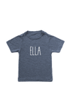 "Navy kids tee with ""Ella"" written on it."