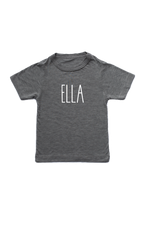 "Grey kids tee with ""Ella"" written on it."