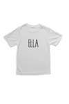 "White kids tee with ""Ella"" written on it."