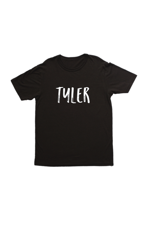 "Black kids tee with ""Tyler"" written on it."