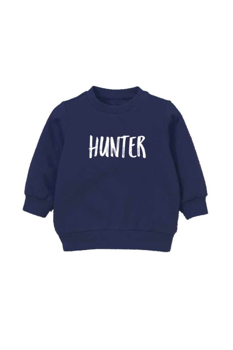 "A navy kids sweatshirt that says ""Hunter."""