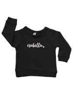 "Black sweatshirt with the name ""Isabella"" written on it."