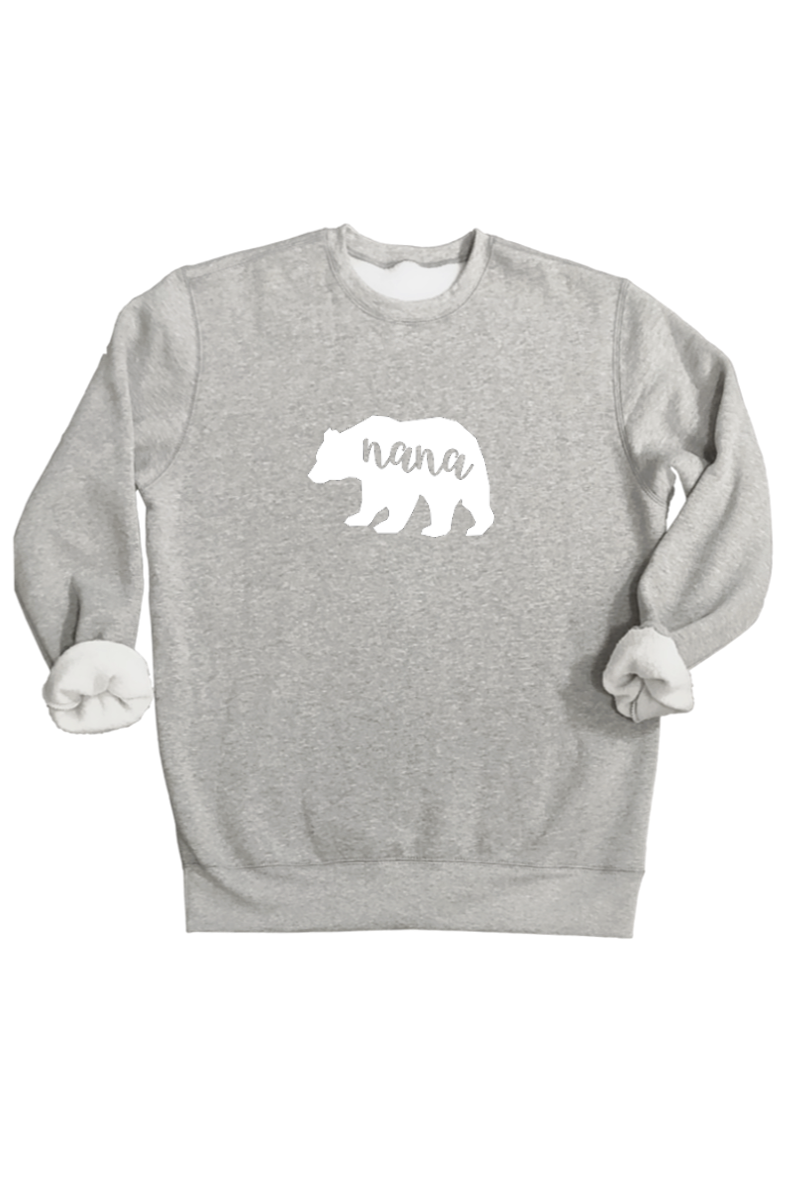 "A grey ""nana bear"" sweatshirt."