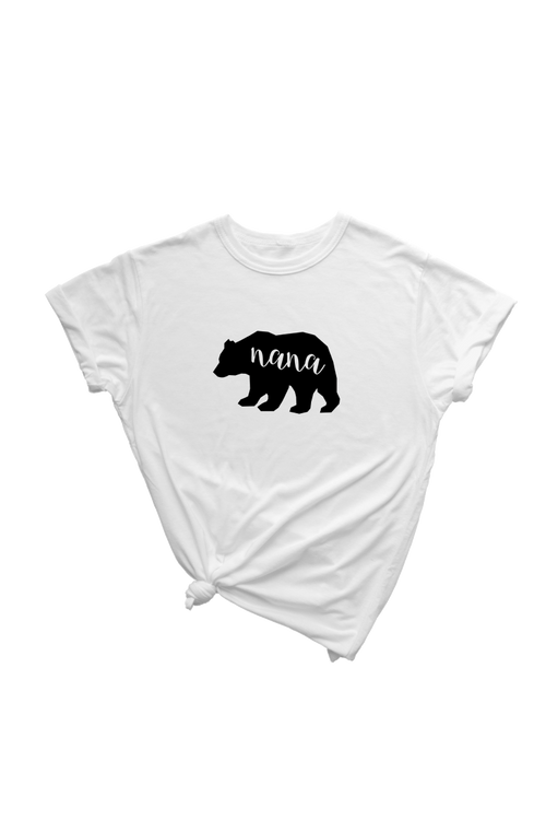 "A white t-shirt with a bear on it.  Inside the bear is the word ""nana."""