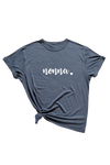 "Navy t-shirt with ""nonna"" written on it."