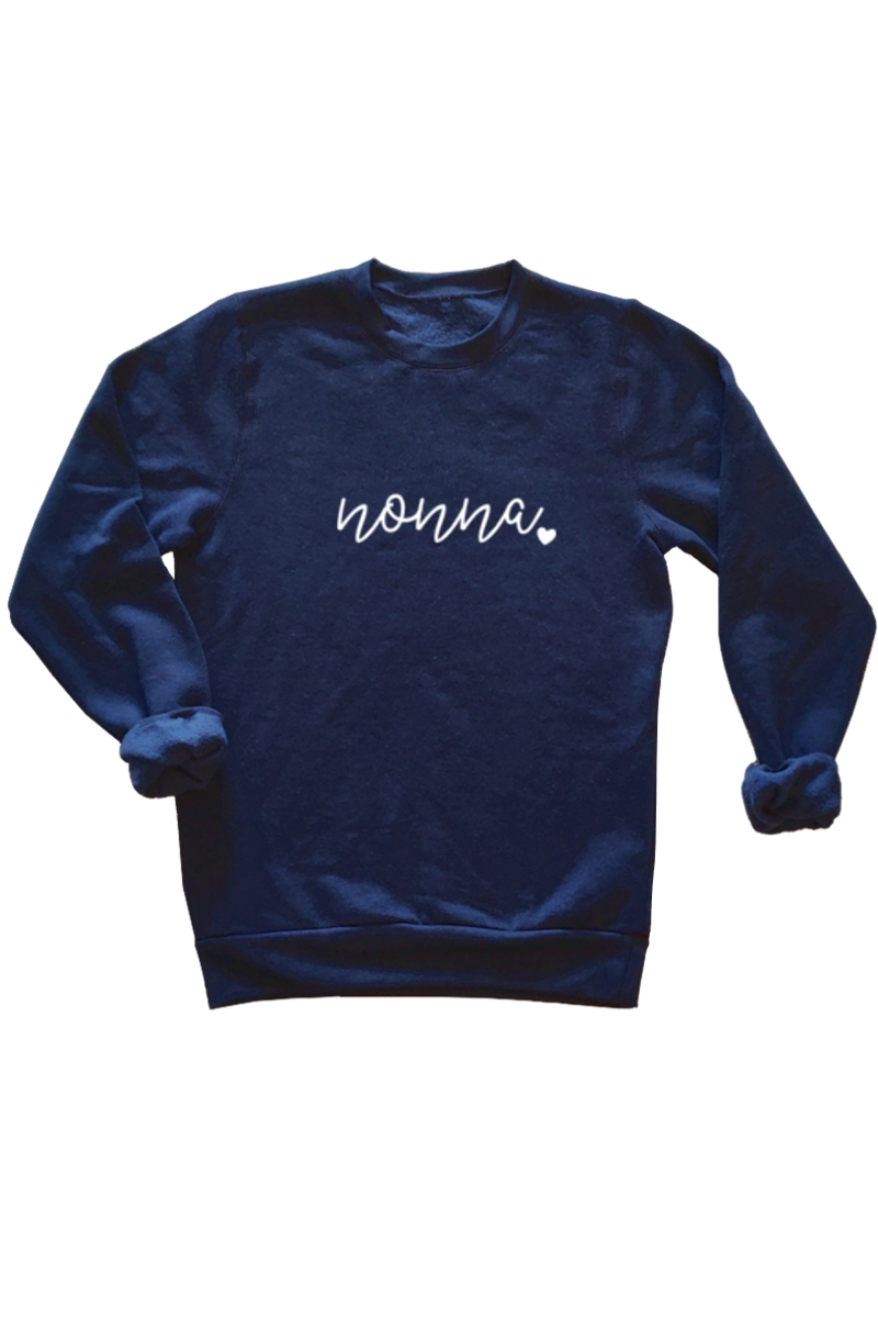 "A navy sweatshirt that says ""nonna""."