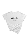 "A white t-shirt with ""oma est. 2020"" written on it."