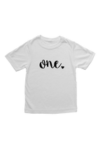 "White kids tee with ""one"" written on it."