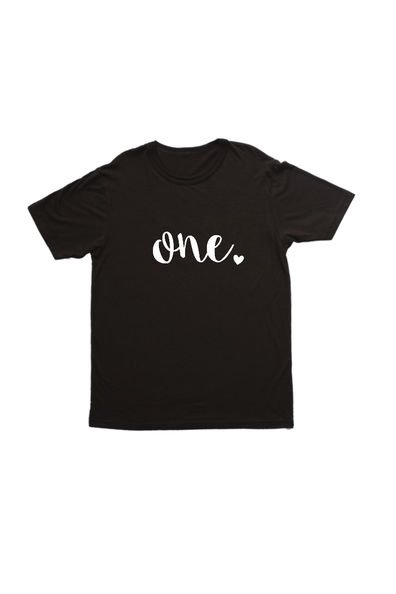 "Black kids tee with ""one"" written on it."