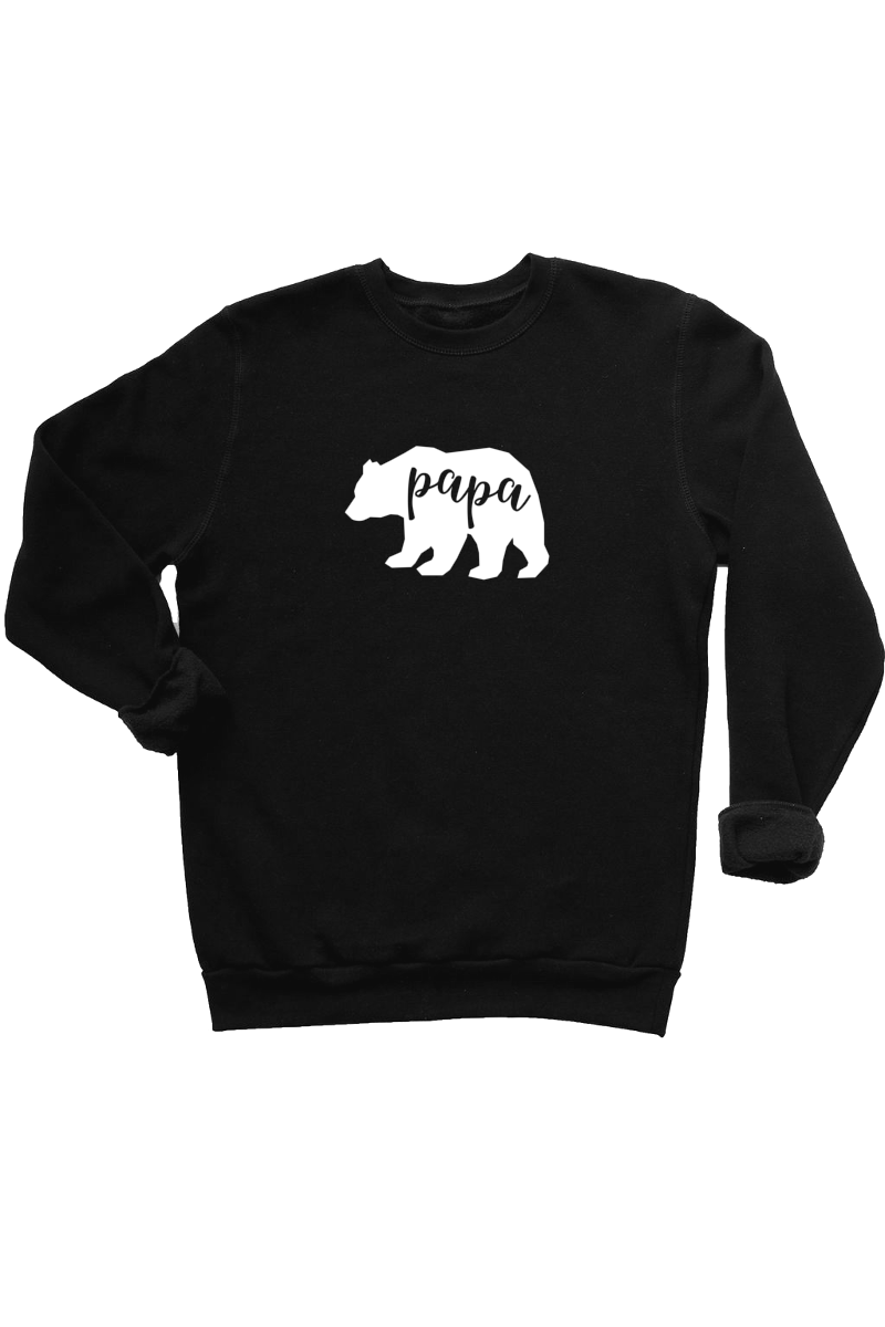 "A black sweatshirt with ""papa"" written inside a white bear silhouette."