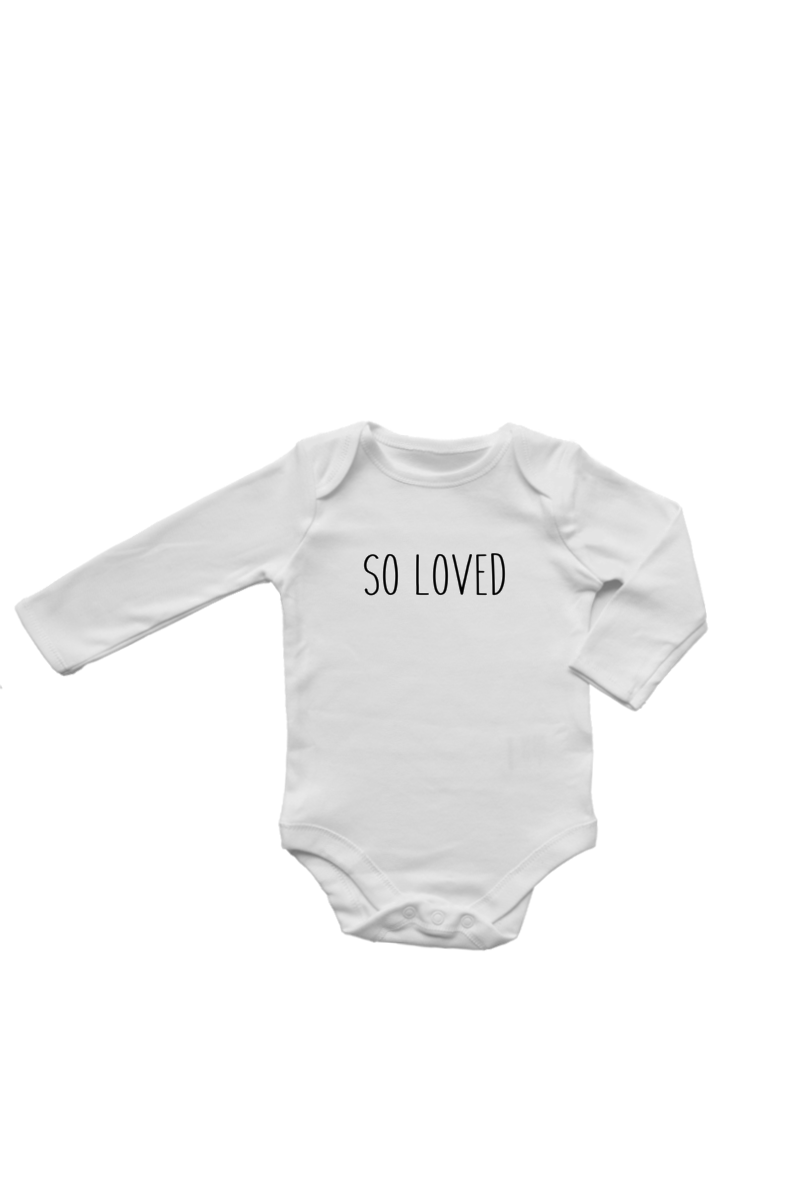 "A long-sleeve white bodysuit with ""so loved"" written on it."