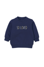 "A navy kids sweatshirt that says ""so loved."""