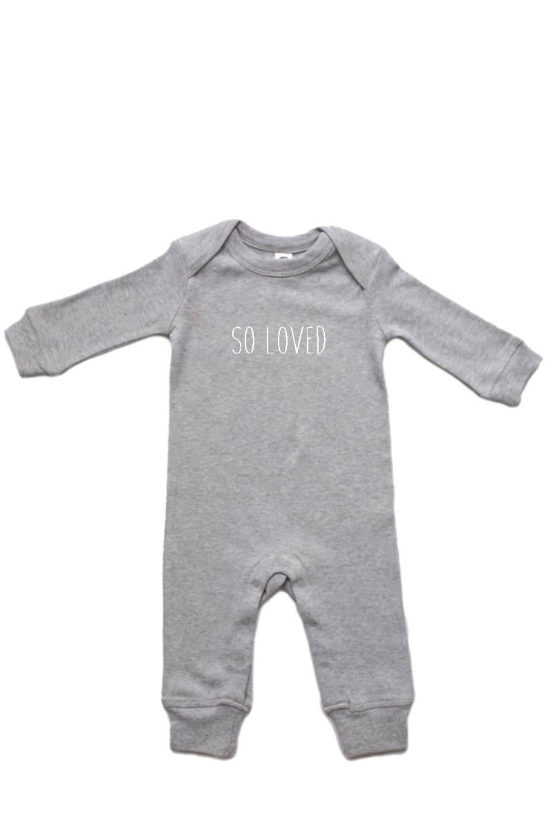 "A grey baby romper with ""so loved"" written on it."