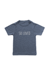 "Navy kids tee with ""so loved"" written on it."