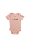 """So Loved"" Organic Cotton Bodysuit - Whimsical Font"