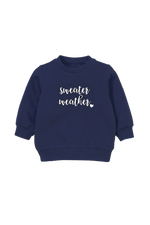 "A navy kids sweatshirt that says ""sweater weather."""