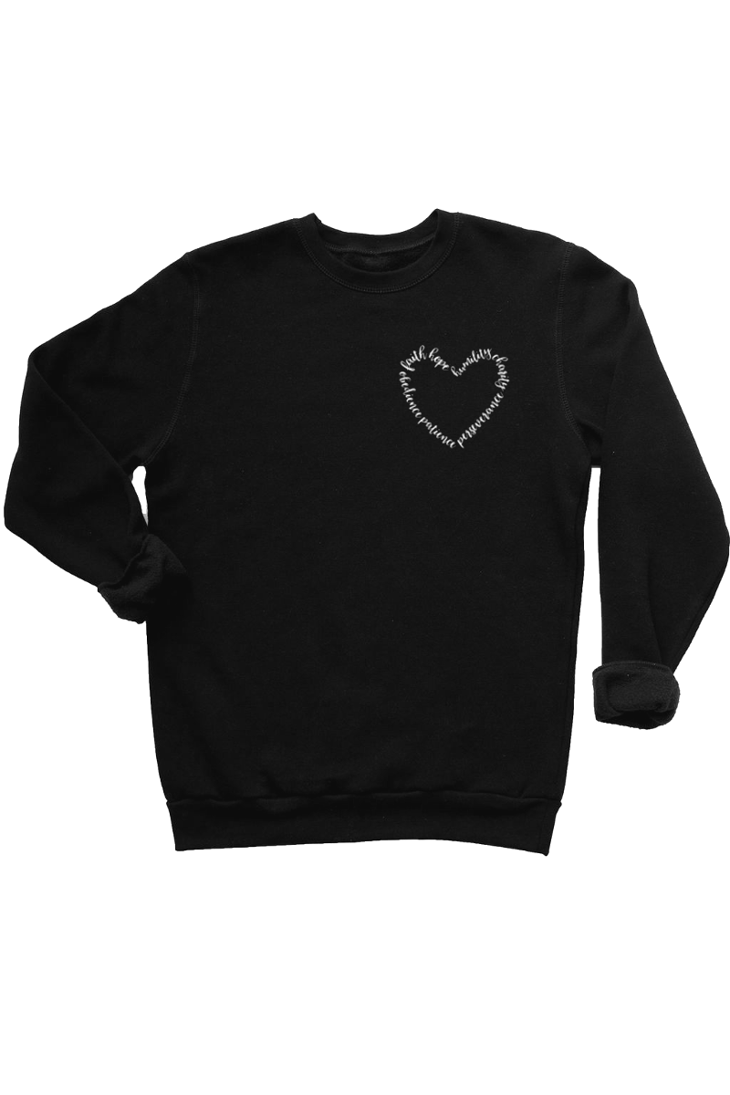 Ladies black sweatshirt with words written on it in the shape of a heart