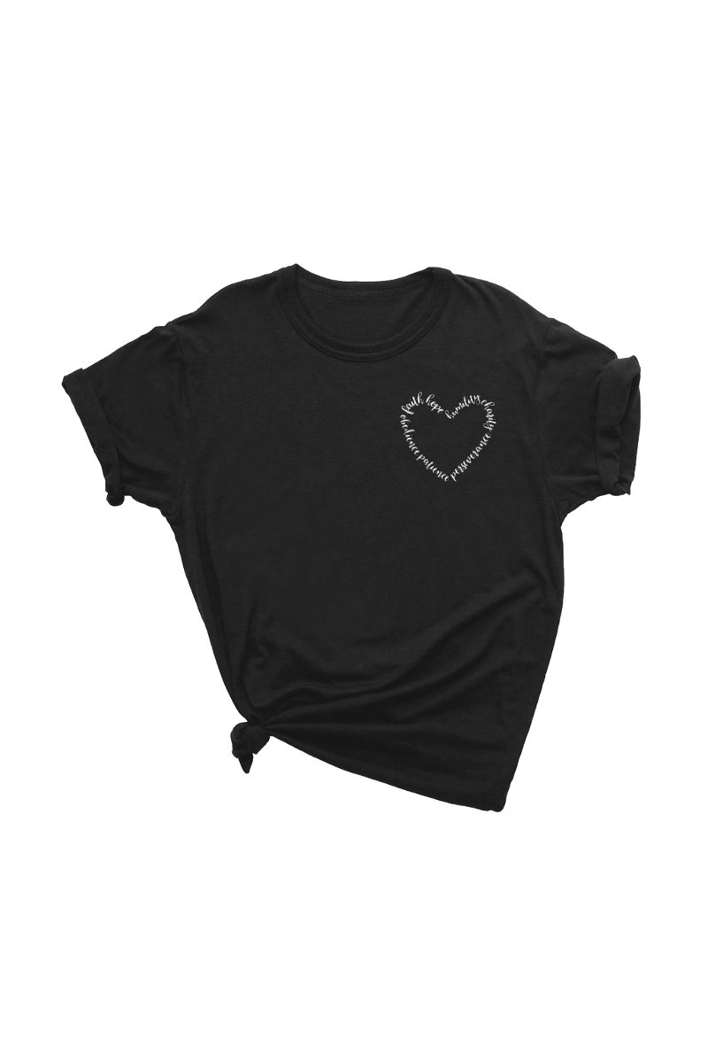 Black t-shirt with words written in the shape of a heart on the upper left chest.