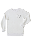 Ladies white sweatshirt with words written on it in the shape of a heart